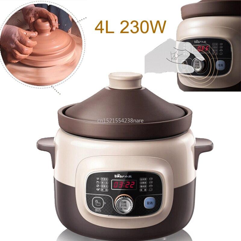 Reserva inteligente + cronometragem mudo fogão lento elétrico 4l 230 w panela de guisado elétrico com natural roxo areia forro lcd sopa pot