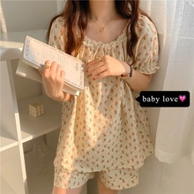 Lace Floral Short Sleeve Pajamas Women's Summer 2021 New Sweet Comfortable Loose Casual Wide-Leg Sho