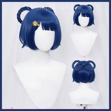 Genshin Impact Xiangling Wig Cosplay Blue Short 8-Shaped Braids Heat Resistant Hair Halloween Role P