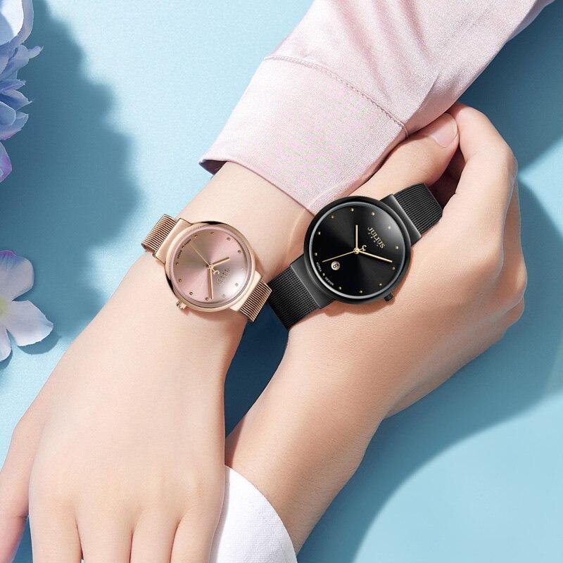سامسونج نساء موضة ساعة عادية روز الذهب شبكة الصلب ساعة كوارتز السيدات بسيطة الفضة الساعات في سن المراهقة فتاة ساعة فاخرة هدية