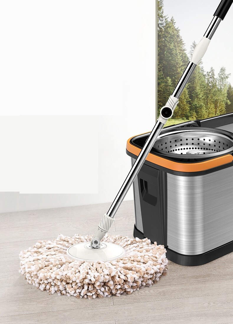 Stainless Steel Wet And Dry Rotary Mop Household Automatic Hand-Free Mop Bucket enlarge