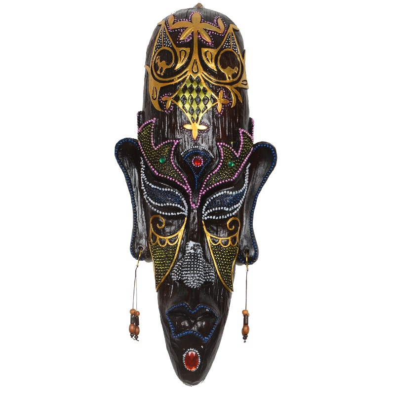 قناع حائط أفريقي إبداعي ، زخرفة شريط ، قلادة داخلية ، وشم ، متجر ، شخصية ، زخرفة جدارية سوداء ، عرض