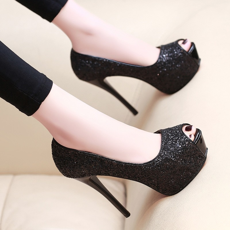 Zapatos De plataforma con punta abierta para mujer, Zapatos De boda con...