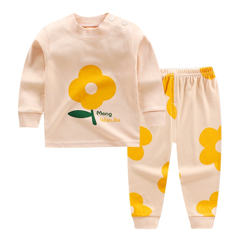 Cartoon Print Baby Pajamas Sets Cotton Boys Sleepwear Autumn Spring Girls Long Sleeve Tops+Pants 2pcs 1-5 Years Old