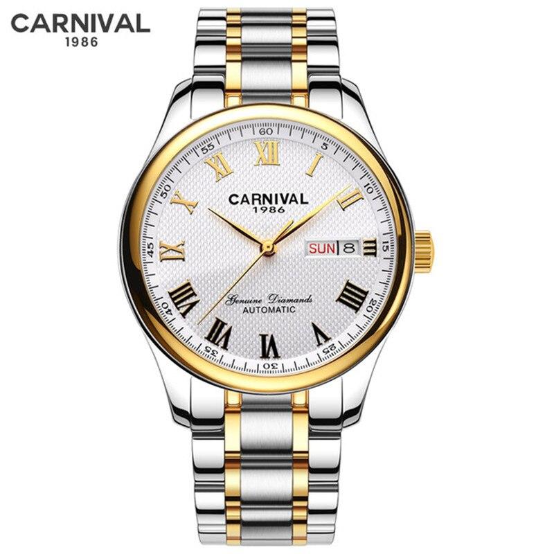 CARNIVAL Top Brand Gold Automatic Watch Men Fashion Business Mechanical Wristwatches Waterproof Calendar Clock Relogio Masculino