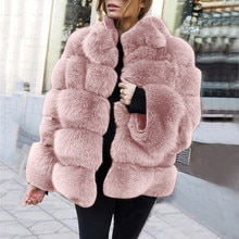 Nerz Mäntel Frauen 2019 Winter Top Mode Rosa Faux Pelzmantel Elegante Dicke Warme Oberbekleidung Gefälschte Pelz Jacke Chaquetas Mujer # J30