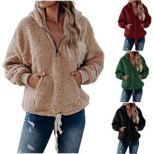 Модное осенне-зимнее пальто, вельветовое милое пальто с капюшоном на молнии, свободные толстовки с карманами, Женский флисовый фланелевый пуловер, женский свитер, топы