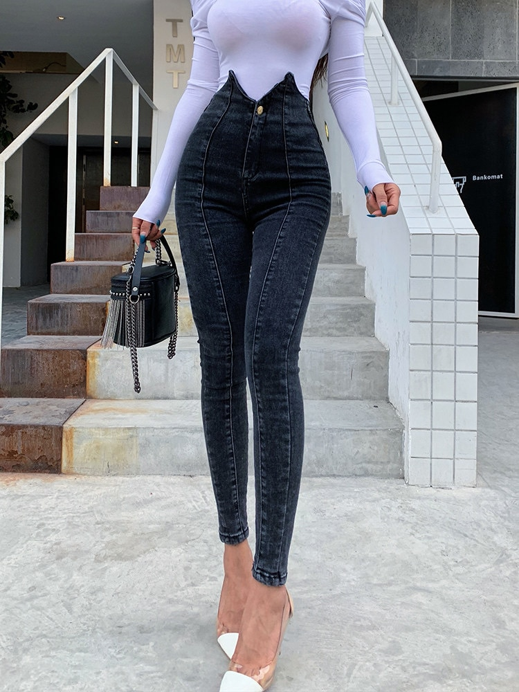 2020 nuevo alto irregular cintura jeans mujeres medias, hip lifting y leggings de moda high street gris oscuro sexy