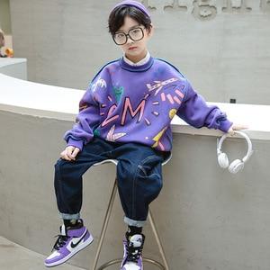 New Kids Graffiti T Shirt Fashion Boys Warm Long Sleeve Tops Teen Sport Outerwear  2020 Children Clothes MD20350