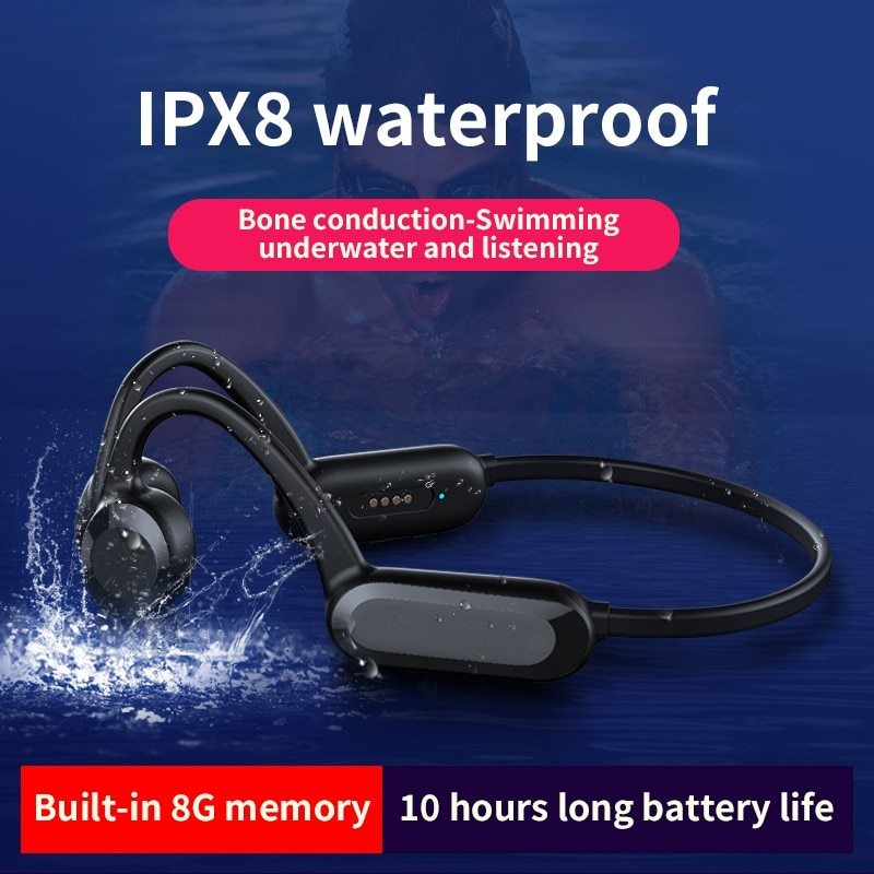TWS العظام التوصيل IPX8 سماعات مقاومة للماء مع هيئة التصنيع العسكري بلوتوث سماعات رأس لاسلكية سماعات رياضية للهواتف الذكية