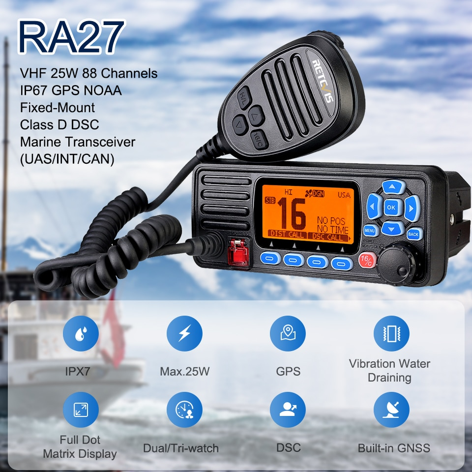 Retevis RA27 VHF Marine Radio Transceiver 25W IP67 Waterproof GPS NOAA Fixed-Mount Class D DSC Marine Transceiver (USA/INT/CAN)