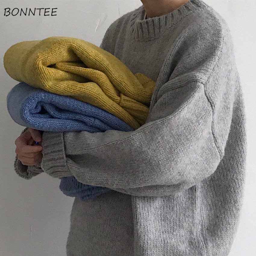Men Sweaters Simple Solid Knitted Korean High Quality Pullover Mens Harajuku Tops O-Neck Loose Ulzzang Plus Size Winter Clothes