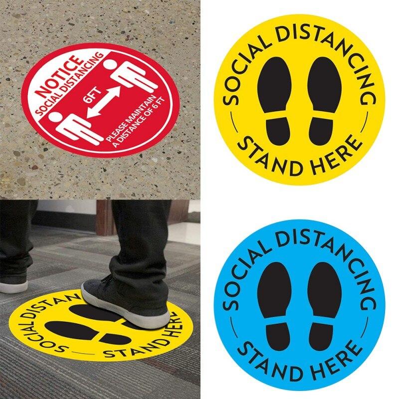 Социальные дистанционные наклейки для пола, безопасный знак для пола, маркер, постер, поддерживающий расстояние 6 футов, противоскользящий, ...