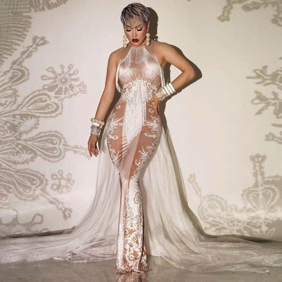 Vestido blanco desnudo recién diseñado Ailigou con flecos, traje de baile, celebración de cumpleaños, vestido de fiesta Sexy elástico