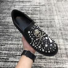 Luxury Designer Fashion Brand Trainers Boat Leather Men's Shoes Glitter Rhinestone Men Loafers Handm