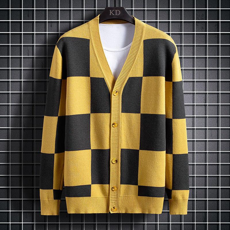 Новый стиль, мужской вязаный кардиган, модный осенний тонкий свитер с прострочкой, верхняя одежда