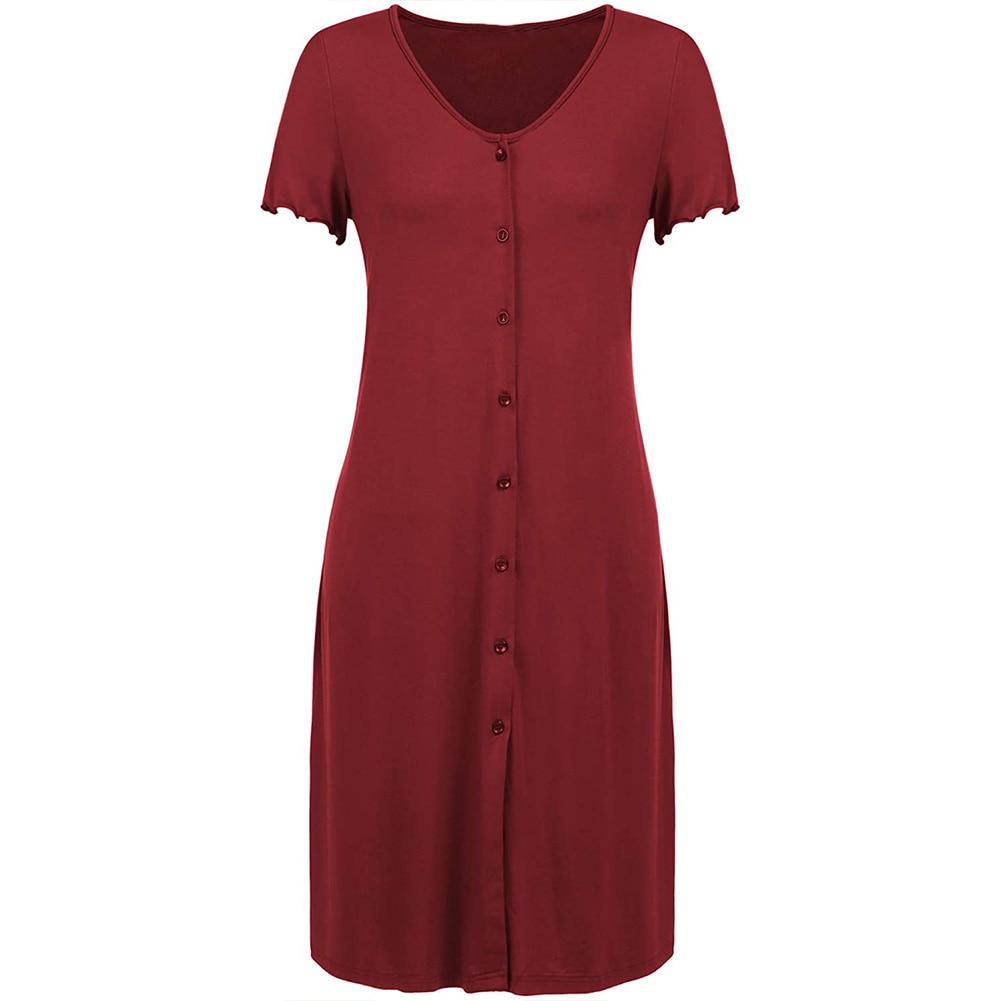 Pregnant Women'S Short-Sleeved Pajamas Breast-Feeding Button Cardigan Breast-Feeding Dress Home Clothes Breast-Feeding Pajamas enlarge