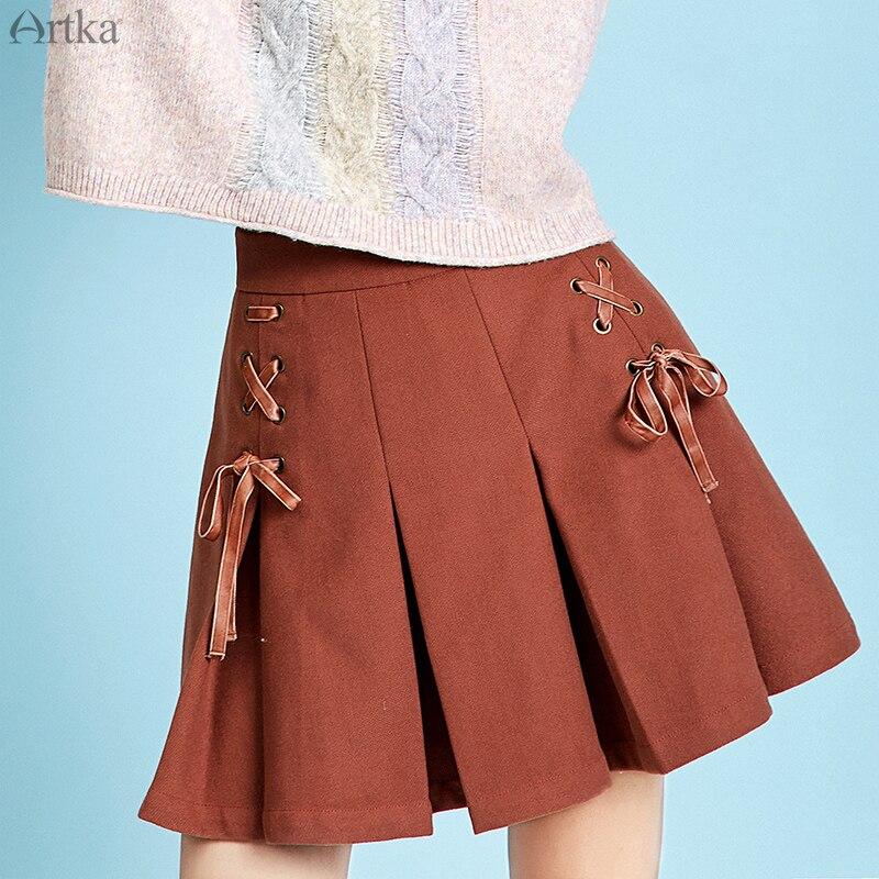 ARTKA 2019 nueva falda de otoño invierno de mujer de moda Falda plisada de Color sólido de cintura alta de encaje falda estilo universitario falda Q110092D