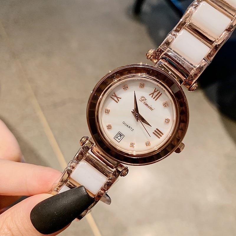 2021 Top Brand Luxury Women Watches White Ceramic Diamond Ladies Watch Gift Sapphire Quartz Wristwatch Relogios Femininos Clock enlarge