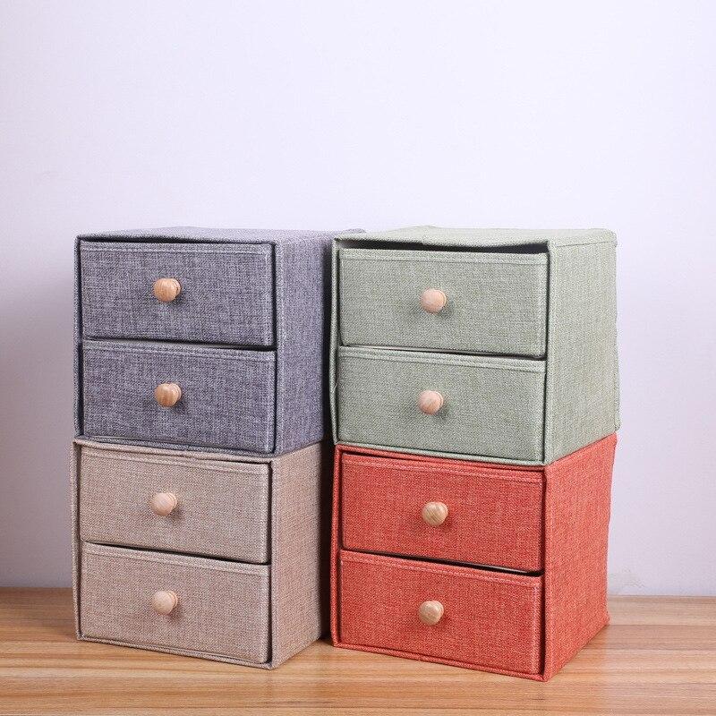 Cajón de tela de lino para el hogar, cajón de almacenamiento cosmético para escritorio, caja de almacenamiento plegable doble de lino con mango de madera