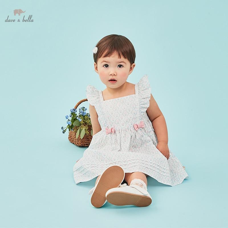 DBH16410 ديف بيلا الصيف طفلة لطيف القوس الأزهار طباعة فستان الأطفال موضة فستان الحفلات الاطفال الرضع لوليتا الملابس