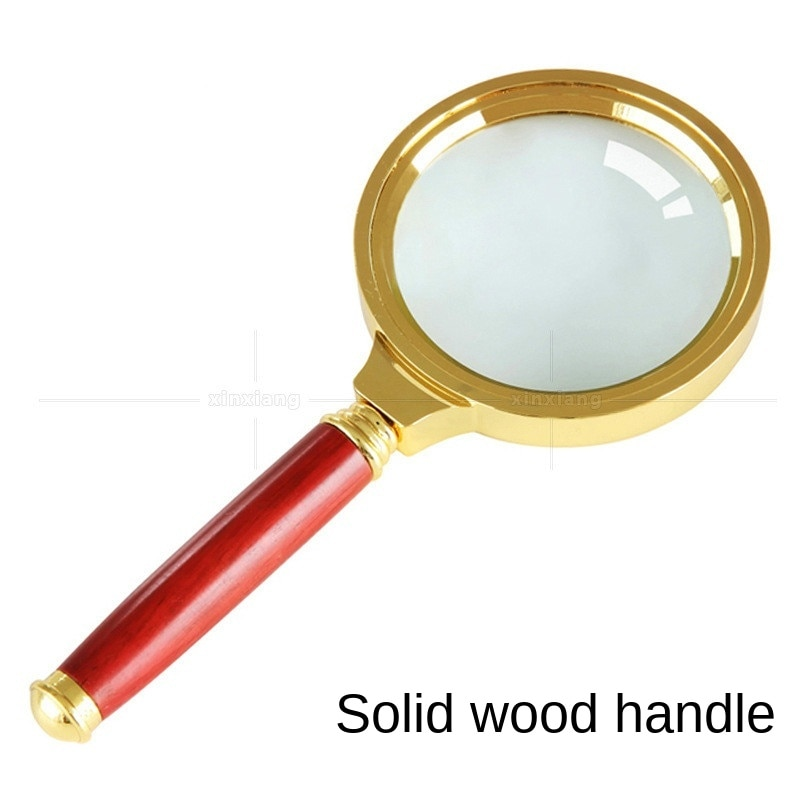 AliExpress - Handheld mahogany handle 10 times magnifying glass with solid wood handle and gold-plated frame