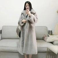 new grey girl plus long faux fur imitation mink coat heavy warm luxury imitation mink coat