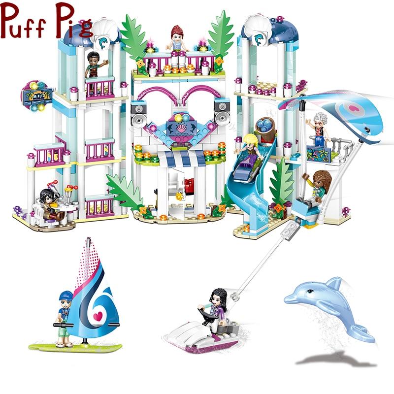 726 pçs 4in1 menina seaside surf blocos de construção compatível amigos coração lago cidade brinquedo para crianças figuras tijolos