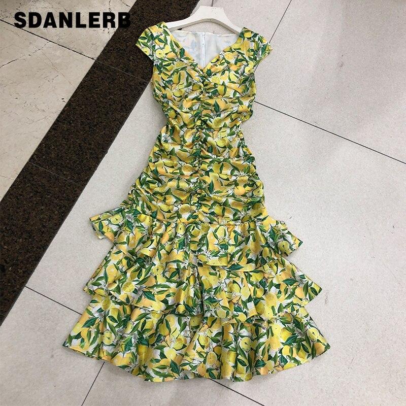 Mulher sem mangas vestido 2020 verão elegante senhoras limão amarelo vestido feminino novo estilo magro hip vestidos de bolo