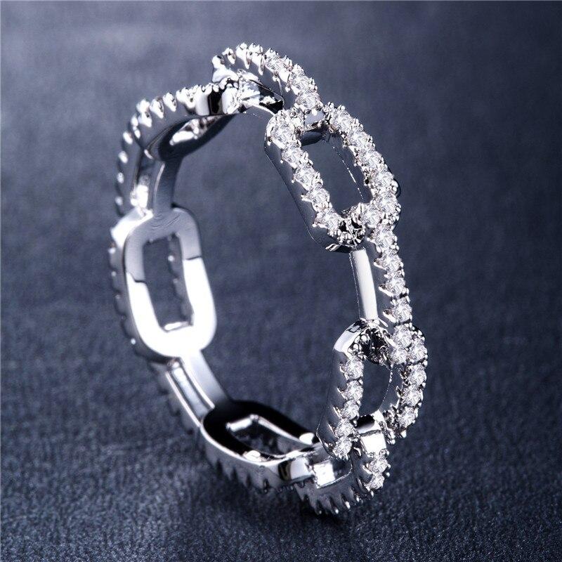 Huitan-anillo creativo de diseño con cadena para mujer, sortija con Micro pavé...