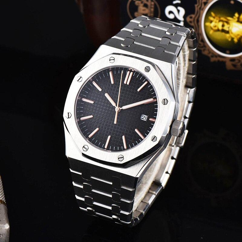 Reloj de pulsera para hombre, de acero inoxidable, resistente al agua, con movimiento mecánico automático y AP de roble AAA