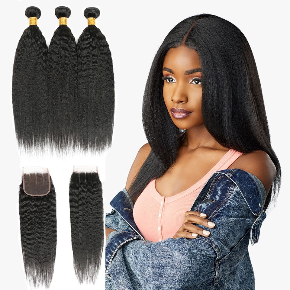 Kinky Curly Bundles with Closure Middle Part 8-16 inch Brazilian Human Hair Weaves with Lace Closure