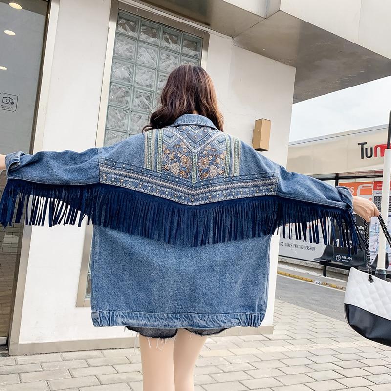 Chaqueta vaquera de motociclista de primavera para mujer, chaqueta vaquera bohemia de estilo Punk con borlas bordadas, chaqueta holgada de gran tamaño con remaches azules para mujer