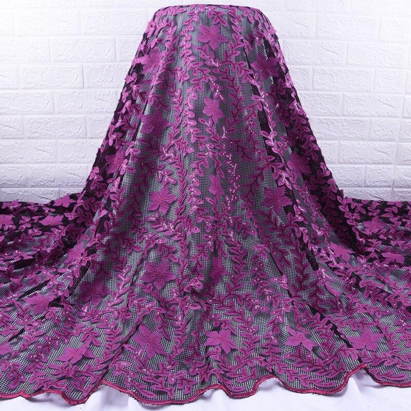 Zhenguiru африканская кружевная ткань Распродажа Новая фиолетовая французская блестящая Кружевная Ткань 5 ярдов нигерийская сухая кружевная т...