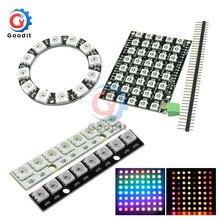4 7 8 12 16 24 40 60 64 Bit WS2812 modul 5050 RGB LED-full-farbe eingebauten fahren lichter Runde LED Ring bord Elektronische DIY