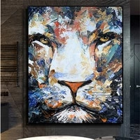 hand painted abstract colorful animal oil painting franz mark fox canvas art tiger art painting mural modern decorative painting