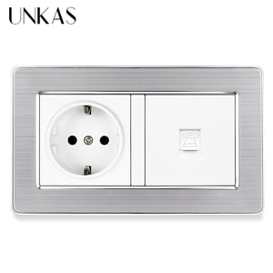 UNKAS Gray Stainless Steel Panel 16A EU Standard Wall Power Socket + Grey RJ11 Telephone Connector Jack 146MM*86MM Outlet