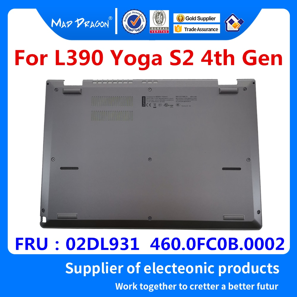Серебристая Дверная панель для ноутбука, Нижняя крышка для lenovo ThinkPad L390 Yoga S2 4th Gen и S2 Yoga 4th Gen 02DL931