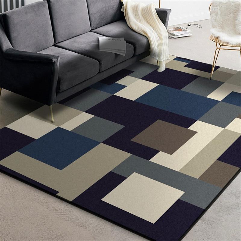 سجادة أرضية حديثة بأشكال هندسية ، صندوق عصري ، أسود وأزرق ، للحمام والمطبخ وغرفة المعيشة وغرفة النوم والسرير