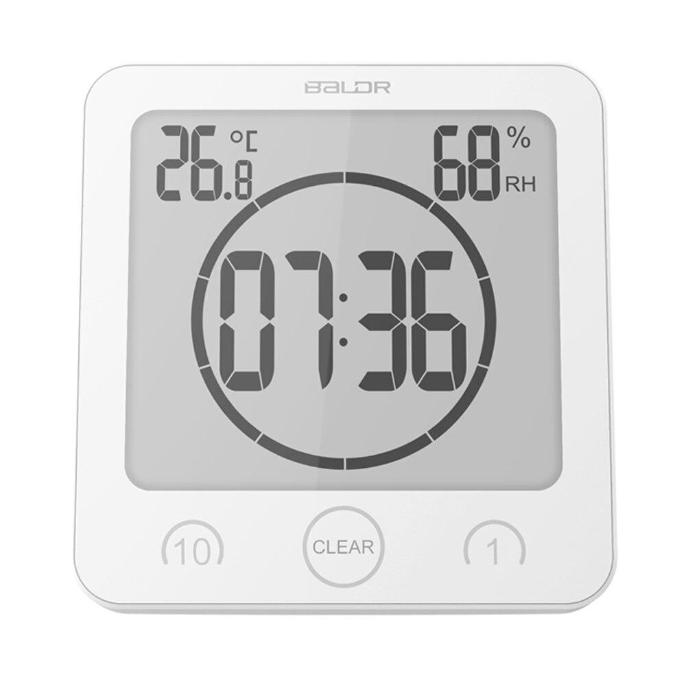 Цифровые водонепроницаемые часы Baldr с ЖК-дисплеем, настенные часы для душа, таймер, температура, влажность, кухонные часы для ванной комнаты
