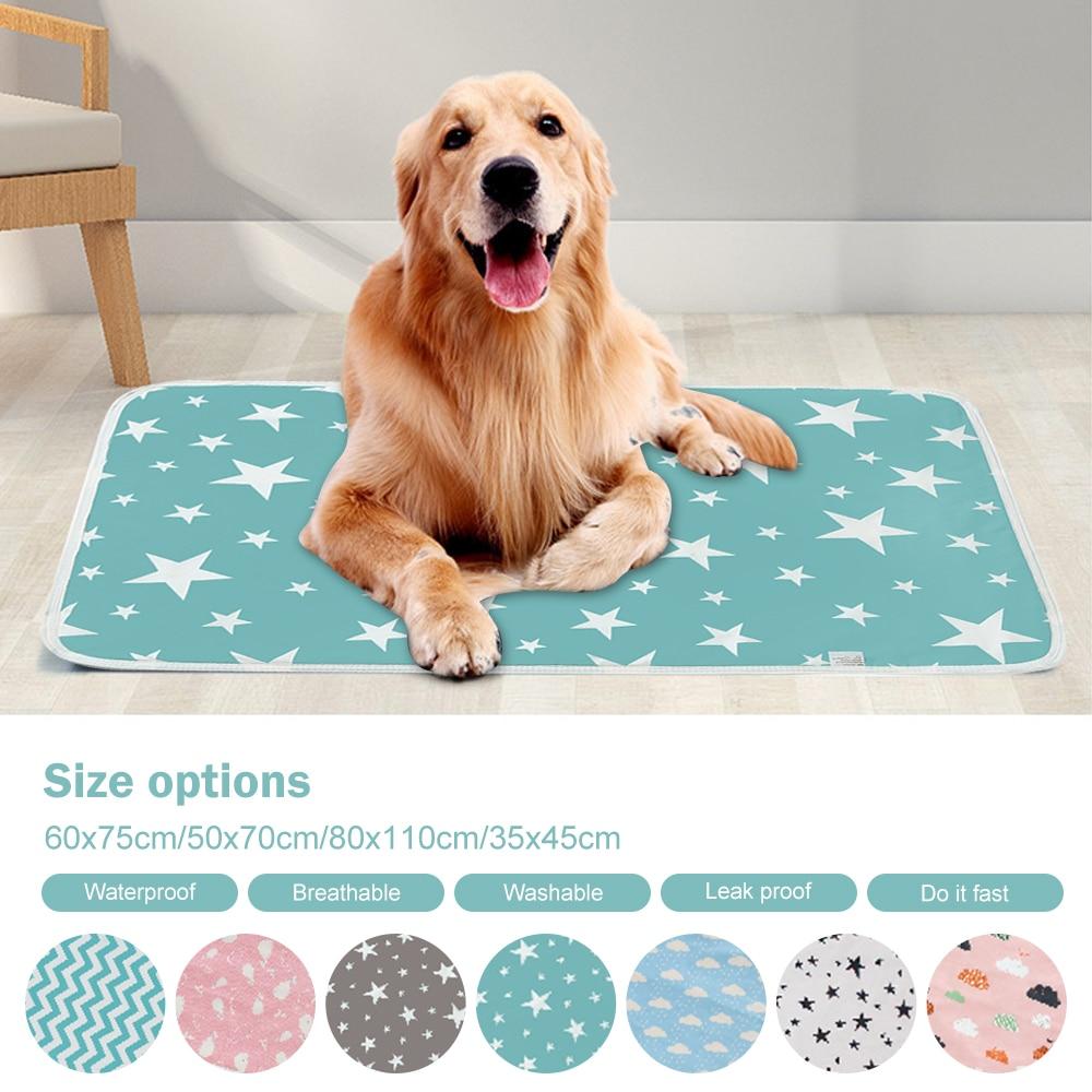 Almohadilla de cama de mascota a prueba de agua, almohadillas transpirables para mascotas, almohadillas para orinar para perros, alfombrilla de algodón reutilizable lavable, almohadón, suministros para mascotas