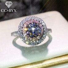 CC Vintage S925 Silber Ringe Für Frauen Elegante Ring Rosa Runde Stein Braut Hochzeit Engagement Schmuck Zubehör CC593
