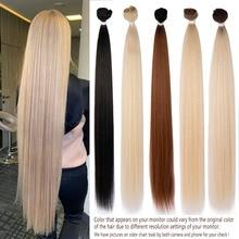 العظام حزم من شعر مفرود ملحقات شعر رجالي حزم 28-36 بوصة سوبر طويل الشعر الاصطناعية مستقيم الشعر الكامل لإنهاء