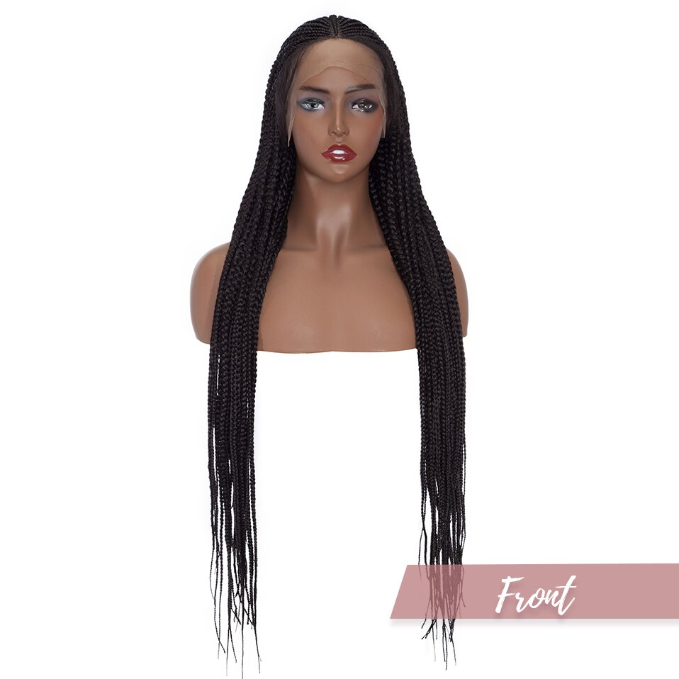 S-noilite 36inch Synthetic Twist Braids Wig Straight Afro Box Braided Hair Wig For Black Women Braiding Hair Wigs With Baby Hair enlarge