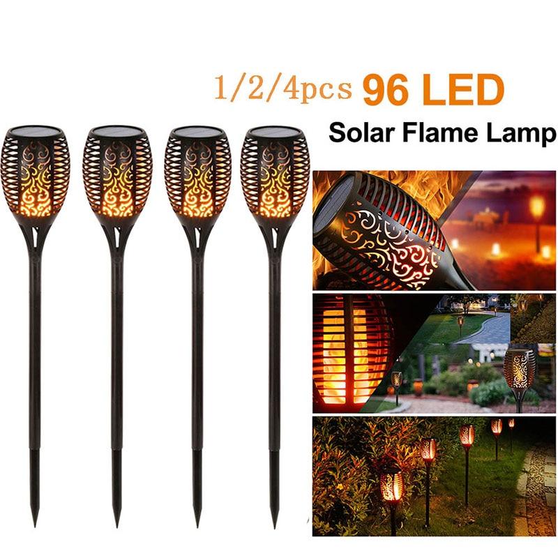 1/2/3/4Pcs 96 LED Solar Flamme Lampe IP65 Wasserdicht Für Garten Landschaft Decor Garten rasen Licht Landschaft Lichter