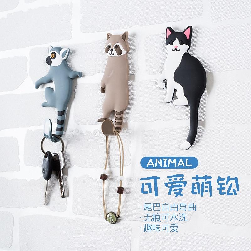 1PC Cute Animals Wall Hooks Decorative Bear Dog Cat Raccoon Hook Hanger Fridge Hook Wall Crochet Holder Removable Kitchen Hooks