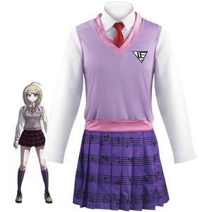 Anime Danganronpa V3: Killing Harmony Kaede Akamatsu Cosplay Costume Adult Women Outfits JK Uniform Vest Skirt Socks Halloween