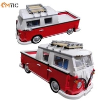 creative car t1 doka camper van cargo tourist truck 10220 model moc building blocks diy assembly vehicles toys kids gifts