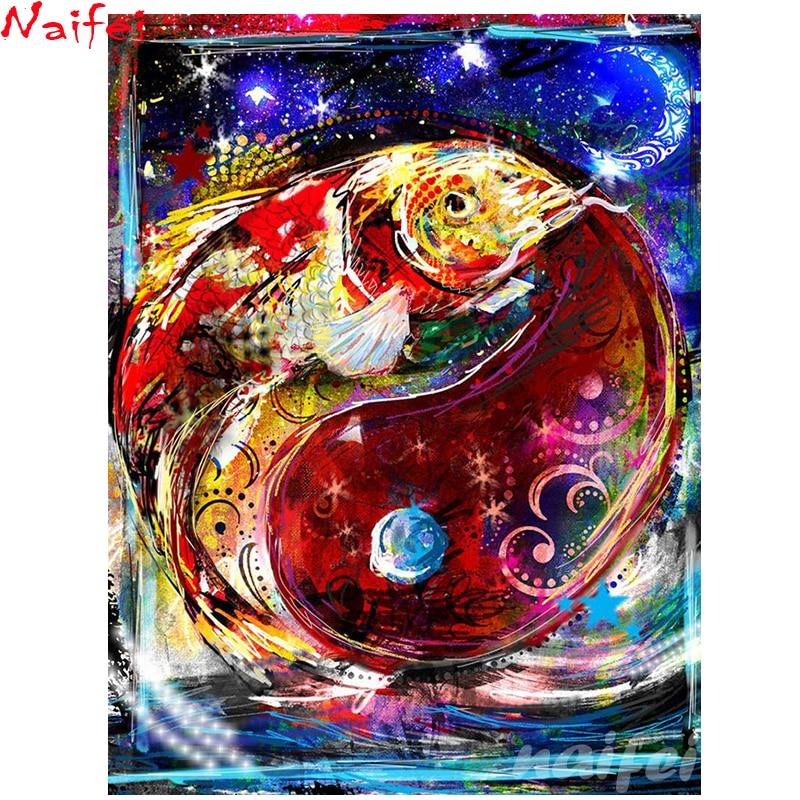 5d pintura de diamante completo cuadrado/redondo taladro punto de cruz Diy diamante bordado mapa Bagua yin yang pescado mosaico decoración para el hogar