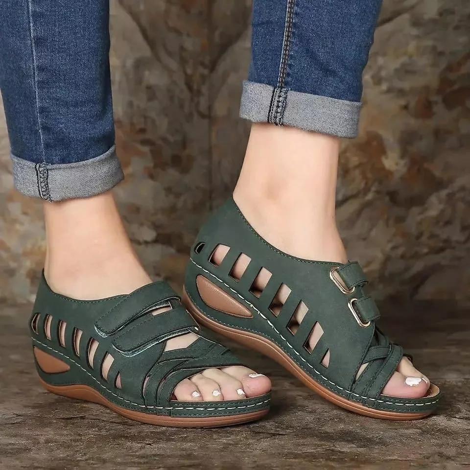 Sandalias comfortable de Punta abierta párr mujer de zapatos ortopédicos de tacón...